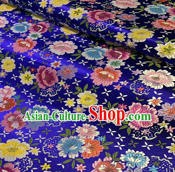 Chinese Traditional Royalblue Brocade Classical Peony Pattern Design Satin Drapery Asian Tang Suit Silk Fabric Material