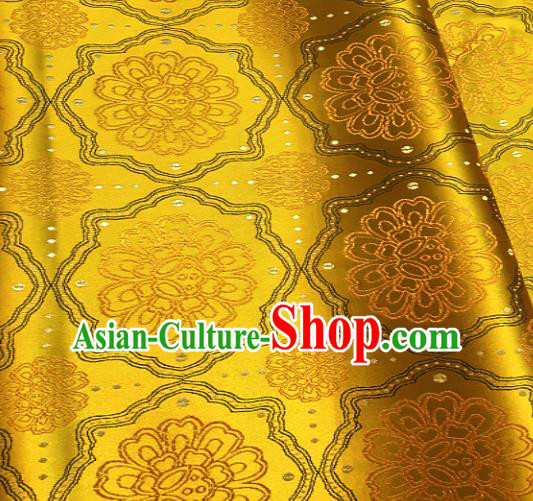 Traditional Chinese Pattern Design Golden Brocade Classical Satin Drapery Asian Tang Suit Silk Fabric Material