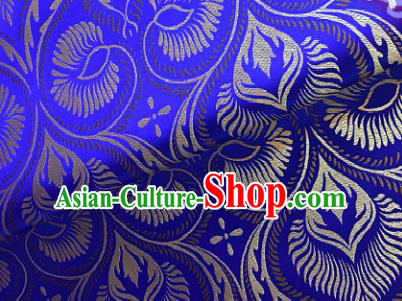 Traditional Chinese Royalblue Brocade Classical Pattern Design Satin Drapery Asian Tang Suit Silk Fabric Material