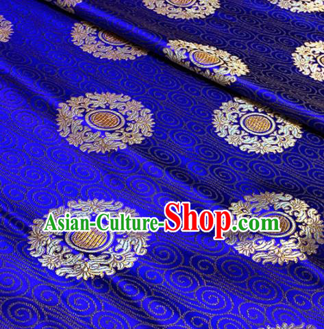 Traditional Chinese Tang Suit Fabric Royalblue Brocade Classical Royal Pattern Design Satin Drapery Asian Silk Material