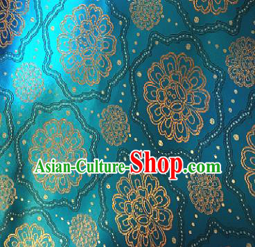 Traditional Chinese Tang Suit Fabric Blue Brocade Classical Royal Pattern Design Satin Drapery Asian Silk Material