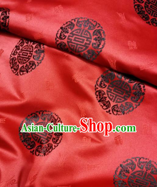 Asian Chinese Classical Longevity Pattern Design Red Brocade Fabric Traditional Tang Suit Satin Drapery Silk Material