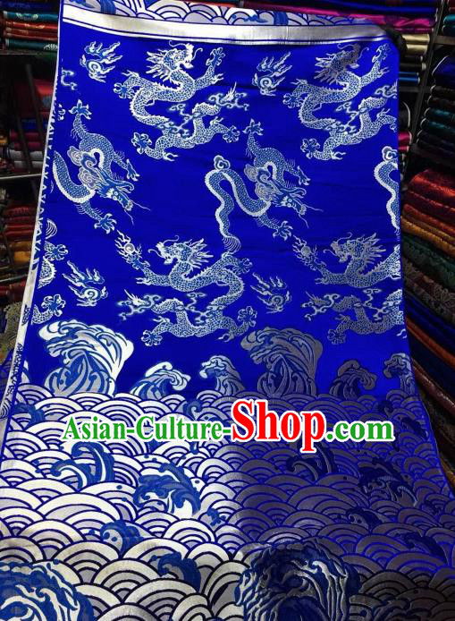Asian Chinese Royal Wave Dragon Pattern Design Royalblue Brocade Fabric Traditional Tang Suit Satin Classical Drapery Silk Material