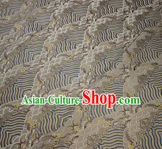 Traditional Chinese Classical Waves Pattern Design Fabric Khaki Brocade Tang Suit Satin Drapery Asian Silk Material