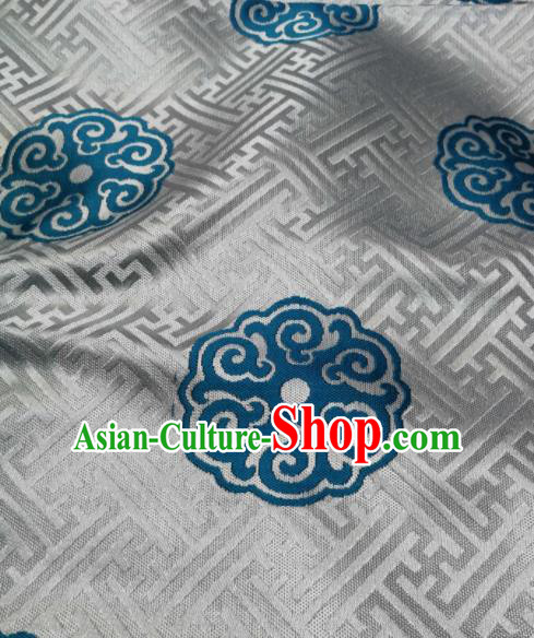 Asian Chinese Satin Classical Pattern Design White Brocade Mongolian Robe Fabric Traditional Drapery Silk Material