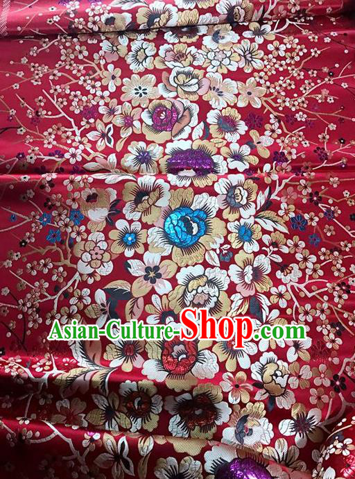 Asian Chinese Dress Wine Red Satin Classical Rich Flowers Pattern Design Red Brocade Fabric Traditional Drapery Silk Material
