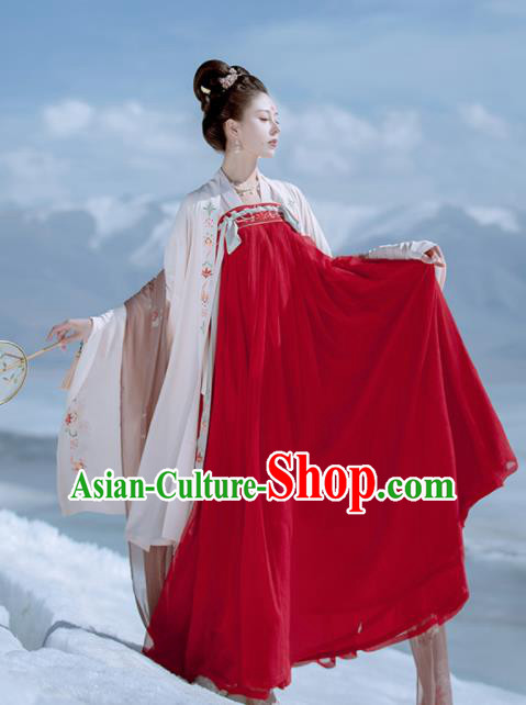 Traditional Chinese Ancient Wedding Embroidered Historical Costume Tang Dynasty Court Princess Red Hanfu Dress for Women