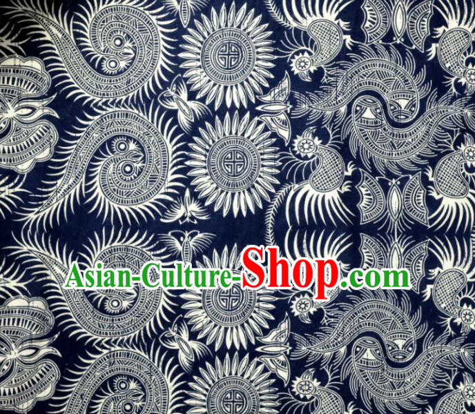 Asian Chinese Batik Fabric White Satin Classical Pattern Design Traditional Drapery Silk Material