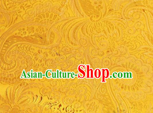 Asian Chinese Fabric Golden Satin Classical Pattern Design Brocade Traditional Drapery Silk Material
