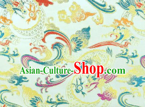Asian Chinese Fabric White Satin Classical Dragon Pattern Design Brocade Traditional Drapery Silk Material