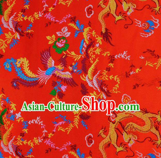 Asian Chinese Fabric Red Satin Classical Dragon Pattern Design Brocade Traditional Drapery Silk Material