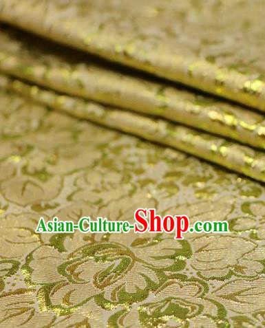 Asian Chinese Golden Satin Fabric Classical Pattern Design Brocade Traditional Drapery Silk Material