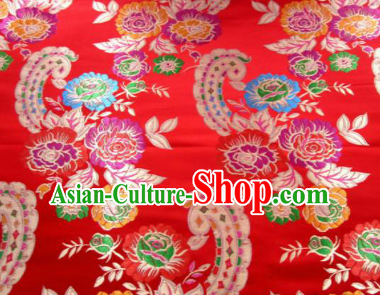 Asian Chinese Classical Roses Pattern Design Red Satin Fabric Brocade Traditional Drapery Silk Material