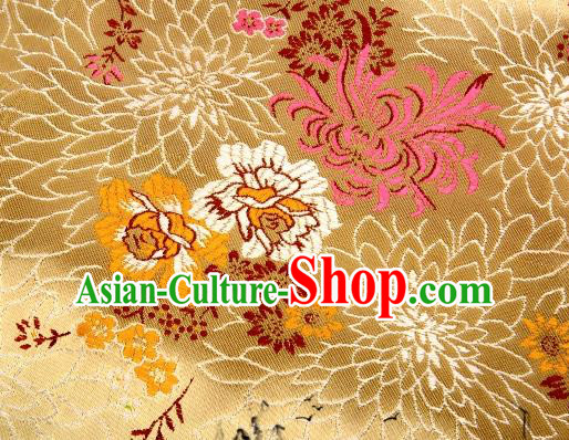 Asian Chinese Classical Peony Chrysanthemum Pattern Design Golden Satin Fabric Brocade Traditional Drapery Silk Material