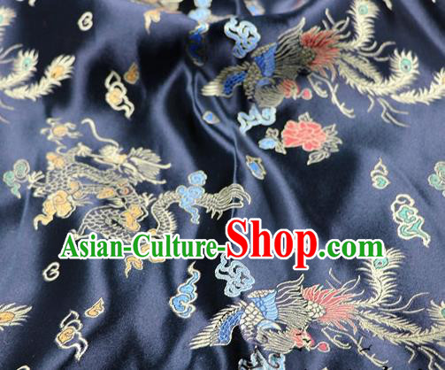 Asian Chinese Classical Dragon Phoenix Pattern Design Black Satin Fabric Brocade Traditional Drapery Silk Material