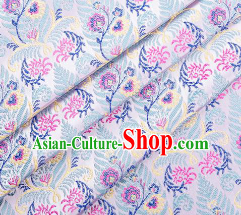 Asian Chinese Classical Cycas Flowers Pattern Design White Satin Fabric Brocade Traditional Drapery Silk Material