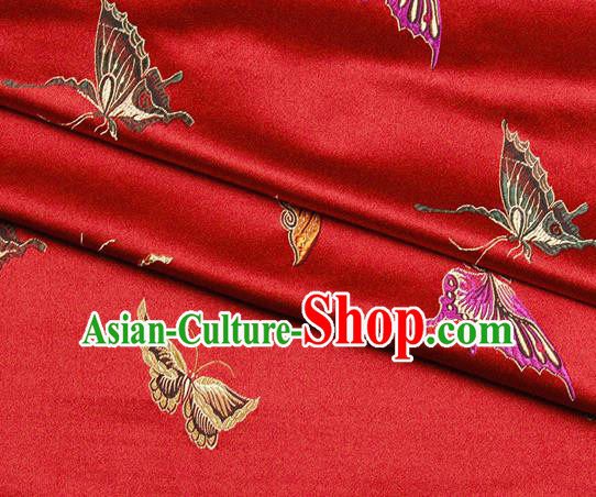 Chinese Classical Butterfly Lantern Pattern Design Red Satin Fabric Brocade Asian Traditional Drapery Silk Material