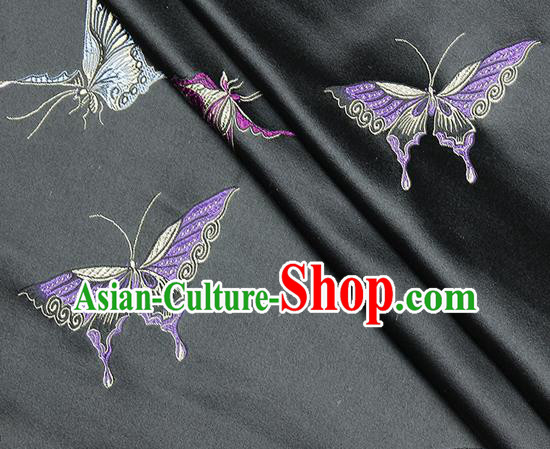 Chinese Classical Butterfly Lantern Pattern Design Black Satin Fabric Brocade Asian Traditional Drapery Silk Material