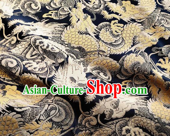 Asian Japanese Kimono Satin Fabric Classical Golden Dragon Pattern Design Brocade Traditional Drapery Silk Material