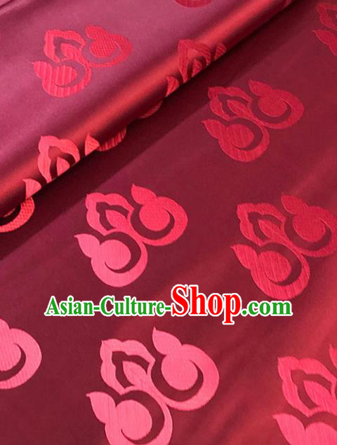 Chinese Hanfu Dress Wine Red Brocade Classical Peach Pattern Design Satin Fabric Asian Traditional Drapery Silk Material