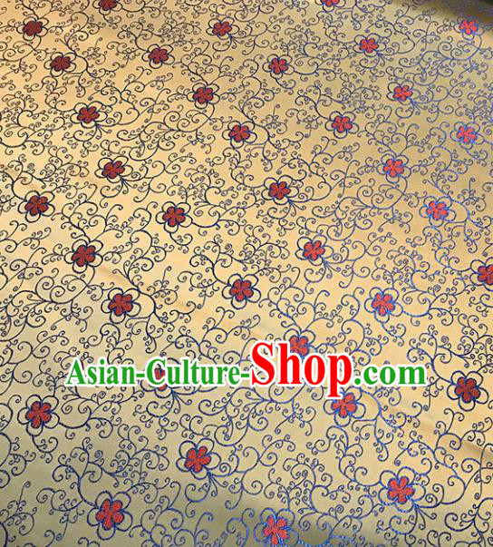 Chinese Hanfu Dress Golden Brocade Classical Flowers Pattern Design Satin Fabric Asian Traditional Drapery Silk Material