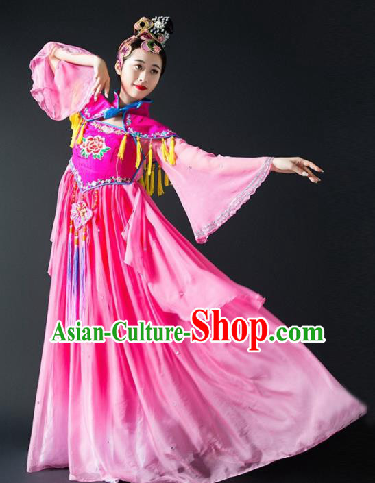 Chinese Traditional Dance Rosy Dress Classical Dance Stage Performance Costume for Women