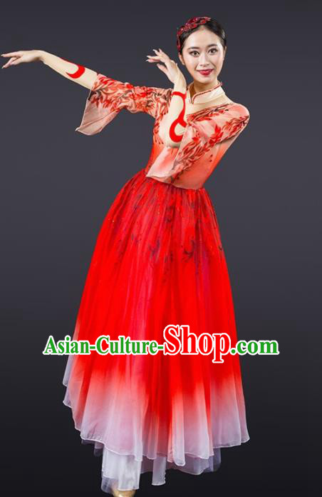 Chinese Traditional Dance Red Dress Classical Dance Stage Performance Costume for Women
