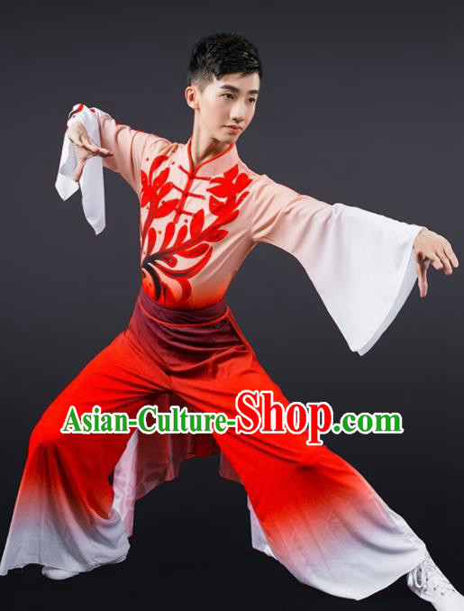 Chinese Traditional National Dance Red Clothing Classical Dance Stage Performance Costume for Men