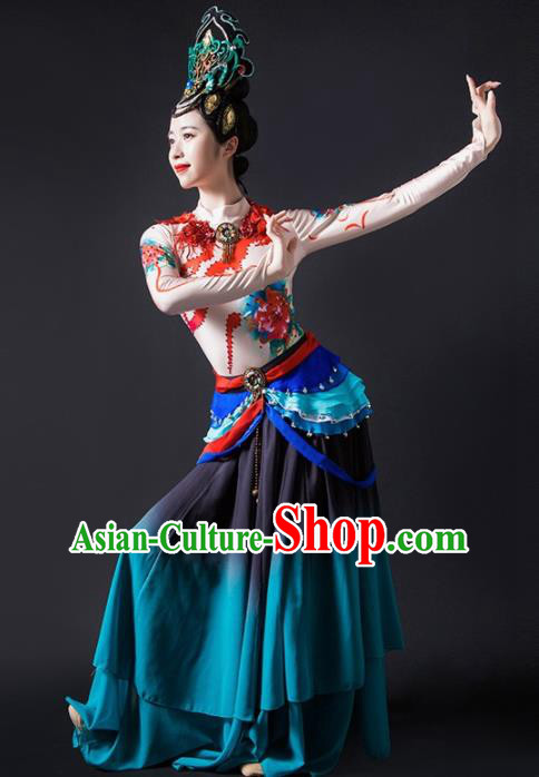 Chinese Traditional Dance Bichunmoo Blue Dress Classical Dance Stage Performance Costume for Women