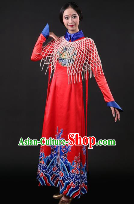 Chinese Traditional Qing Dynasty Palace Lady Red Dress Classical Dance Stage Performance Costume for Women