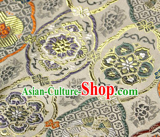 Asian Japanese Kimono Satin Fabric Classical Pattern Design Golden Brocade Damask Traditional Drapery Silk Material
