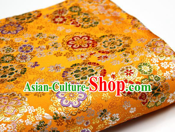 Asian Japanese Kimono Satin Fabric Classical Sakura Pattern Design Golden Brocade Damask Traditional Drapery Silk Material