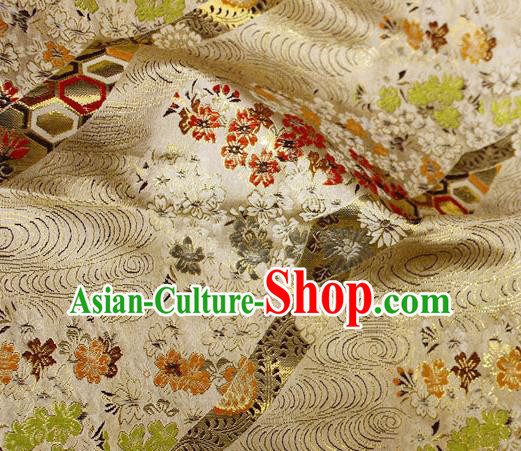 Asian Japanese Classical Sakura Pattern Design Golden Brocade Kimono Satin Fabric Damask Traditional Drapery Silk Material