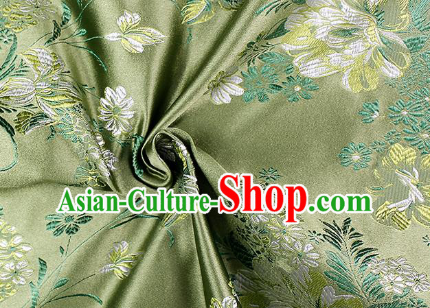 Chinese Classical Peony Pattern Design Green Satin Fabric Brocade Asian Traditional Drapery Silk Material