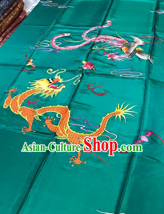 Chinese Classical Dragon Phoenix Pattern Design Green Satin Fabric Brocade Asian Traditional Drapery Silk Material