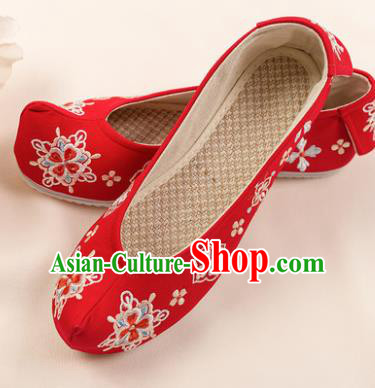 Asian Chinese Red Embroidered Shoes Wedding Shoes Traditional China Princess Shoes Hanfu Shoes for Women