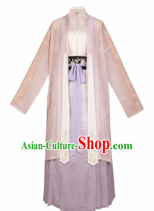 Asian Chinese Ancient Young Mistress Embroidered Hanfu Dress Traditional Song Dynasty Historical Costume for Women