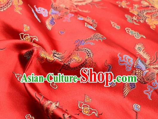 Asian Chinese Classical Dragon Phoenix Pattern Design Red Satin Fabric Brocade Traditional Drapery Silk Material