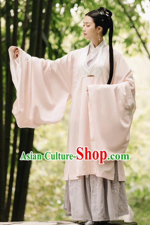Asian Chinese Ancient Rich Lady Embroidered Hanfu Dress Traditional Song Dynasty Nobility Dowager Historical Costume for Women