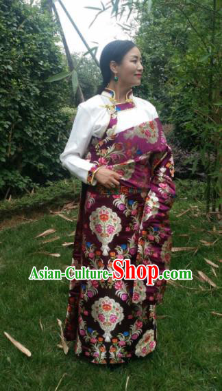 Chinese Traditional Zang Nationality Female Dress Ethnic Dance Costume Purple Tibetan Robe for Women
