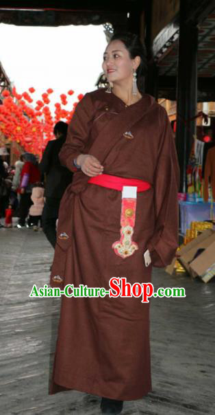 Chinese Traditional Zang Nationality Female Dress Brown Tibetan Robe Ethnic Dance Costume for Women