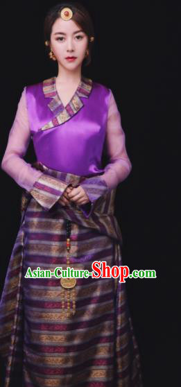 Chinese Traditional Ethnic Bride Purple Tibetan Robe Zang Nationality Female Dress Costume for Women