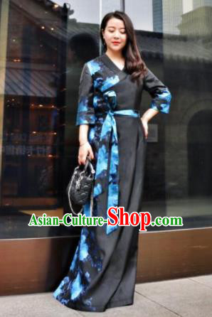 Chinese Traditional Ethnic Bride Tibetan Robe Zang Nationality Female Black Dress Wedding Costume for Women