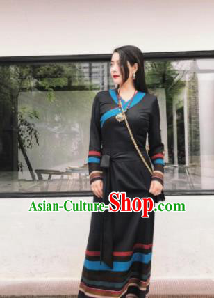 Chinese Traditional Zang Nationality Female Black Dress Tibetan Robe Ethnic Dance Costume for Women