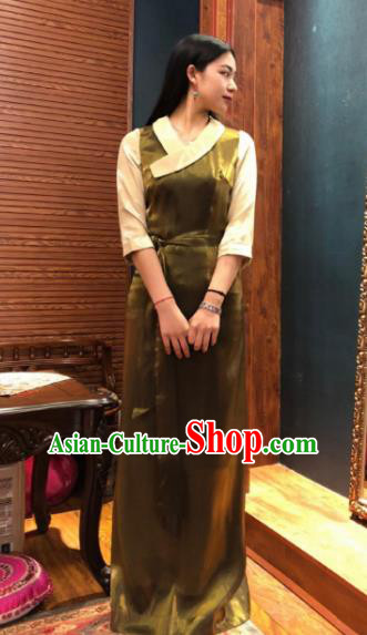 Chinese Traditional Zang Nationality Female Olive Green Dress Tibetan Robe Ethnic Dance Costume for Women