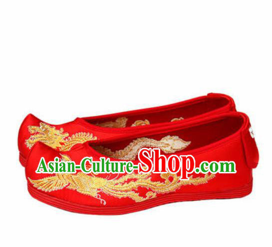 Chinese Traditional Shoes Opera Wedding Red Satin Shoes Hanfu Princess Shoes Embroidered Phoenix Shoes for Women