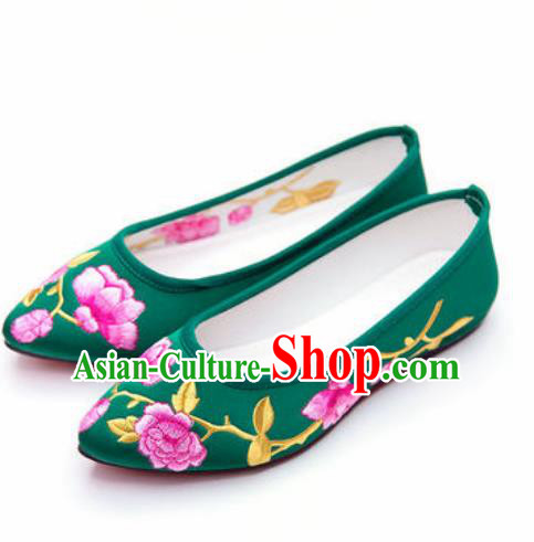 Chinese Traditional Opera Shoes Wedding Shoes Hanfu Princess Shoes Embroidered Green Shoes for Women