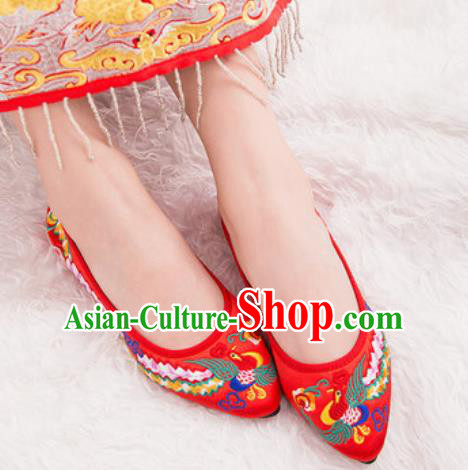 Chinese Traditional Opera Shoes Wedding Red Shoes Hanfu Princess Shoes Embroidered Phoenix Shoes for Women