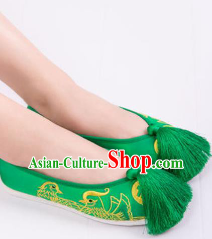 Chinese Traditional Opera Shoes Wedding Green Shoes Hanfu Princess Shoes Embroidered Shoes for Women