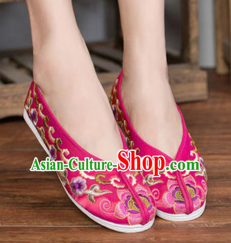 Chinese Embroidered Plum Shoes Traditional Opera Rosy Satin Shoes Wedding Shoes Hanfu Princess Shoes for Women